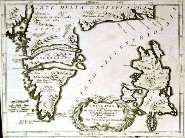 Coronelli's map of the mythical island of Frisland