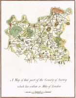 A Map Of That Part Of The County Of Surrey Which Lies Within 12 Miles Of London