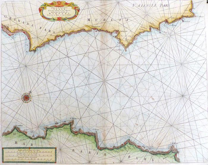 Map Of Coastal Spain.Jonathan Potter Map A Chart Of The Sea Coast Of Spain The Sea