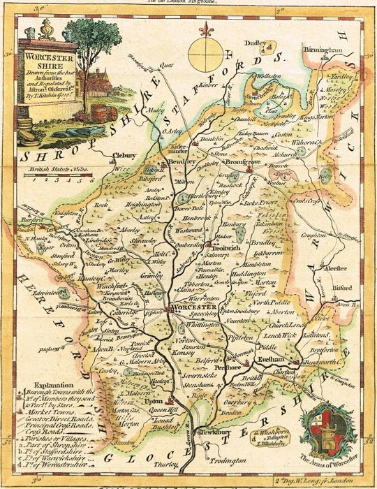 Jonathan Potter Map A New Map Of Worcestershire drawn from the
