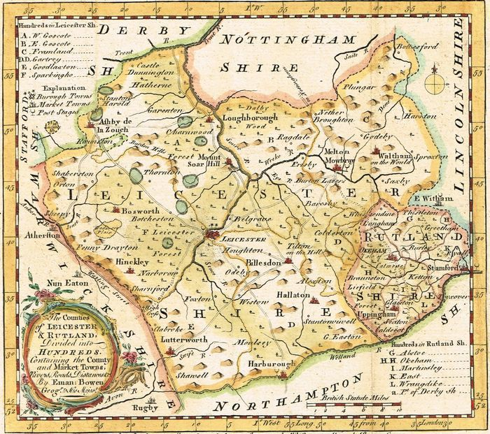 Leicestershire Uk Map.Jonathan Potter Map The Counties Of Leicestershire And Rutland