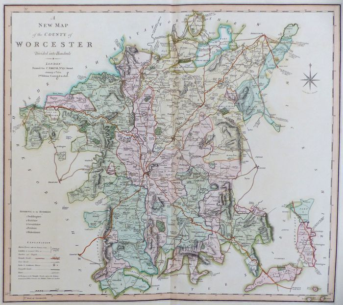 Jonathan Potter Map A New Map Of The County Of Worcester Divided
