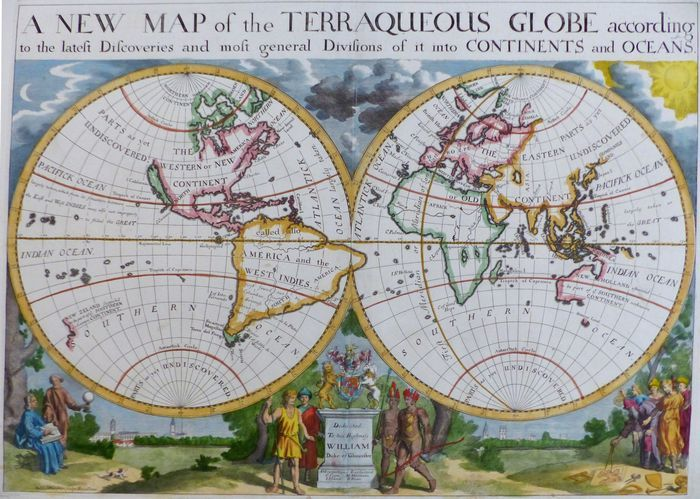 Map Of Uk On Globe.Jonathan Potter Map A New Map Of The Terraqueous Globe According