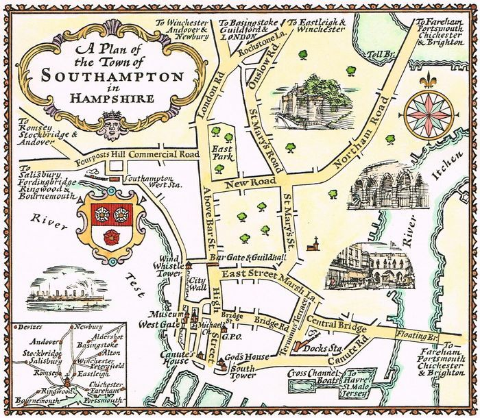 Simplified Map Of London.Jonathan Potter Map A Plan Of The Town Of Southampton In Hampshire
