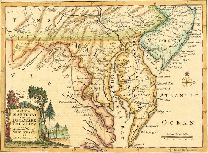 Counties New Jersey Map.Jonathan Potter Map A Map Of Maryland With The Delaware Counties