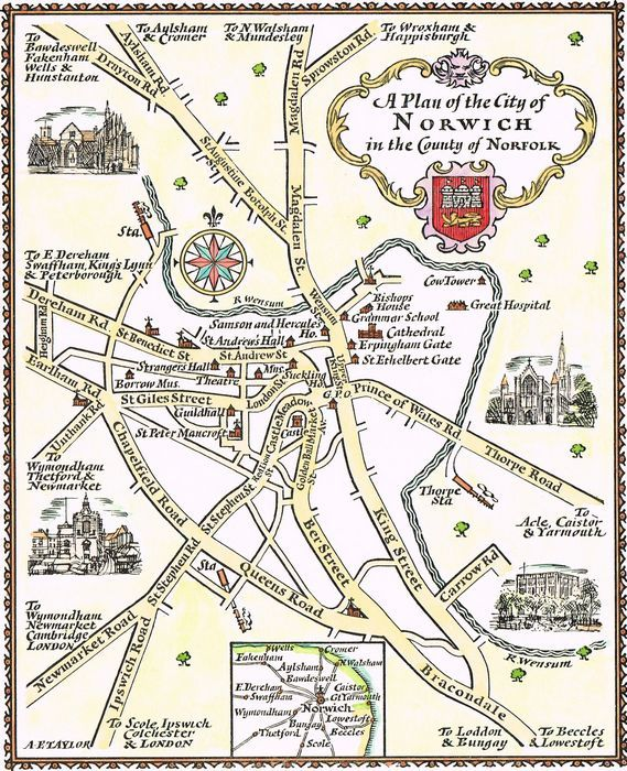 Simplified Map Of London.Jonathan Potter Map A Plan Of The City Of Norwich In The County