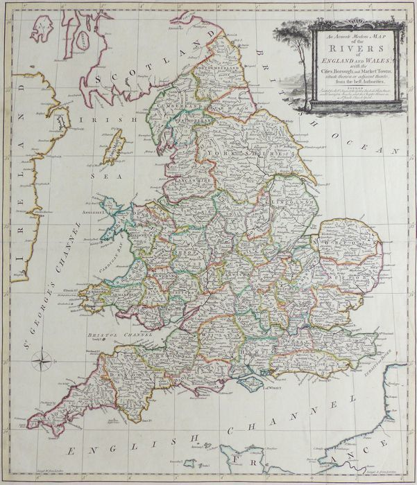 Large Map Of England.Jonathan Potter Map An Accurate Modern Map Of The Rivers Of