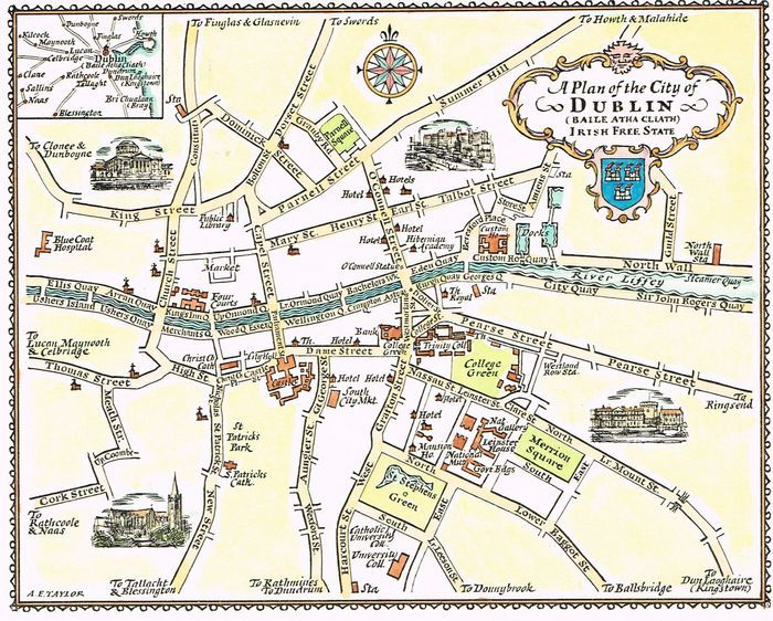 City Map Of Dublin Ireland.Jonathan Potter Map A Plan Of The City Of Dublin Irish Free State