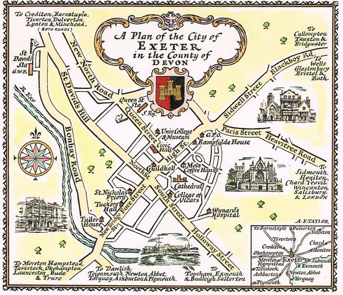 Map Of Uk Exeter.Jonathan Potter Map A Plan Of The City Of Exeter In The County Of